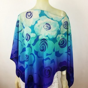 Hand Painted Silk Poncho $500