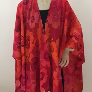 Hand Painted Silk Cape $850