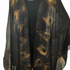 Hand Painted Silk Cape $550