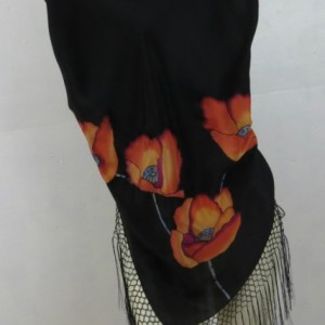 Hand Painted Silk Shawl $500